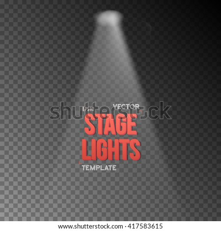 Illustration of Vector EPS10 Bright Stage Light Effect. Stage Light Illuminating Podium. Transparent Studio Stage Light Effect on Transparent Overlay Background - stock vector