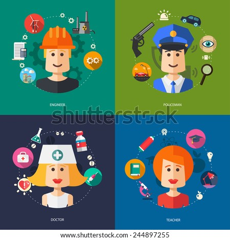 Illustration of vector flat design business illustrations with people professions - stock vector