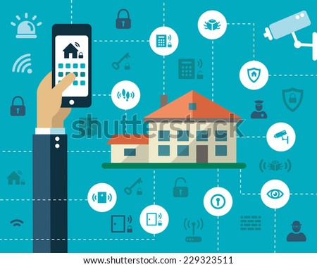 Illustration of vector flat design composition with secure icons - stock vector