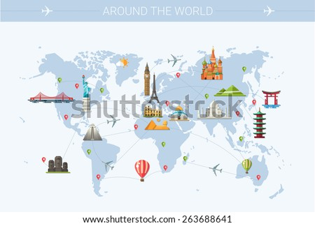 Illustration of vector flat design postcard with famous world landmarks icons on the map - stock vector