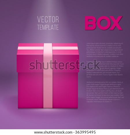 Illustration of Vector Gift Box. EPS10 Realistic 3D Vector Gift Box Under Stage Lights. Birthday Holiday Shiny Present - stock vector
