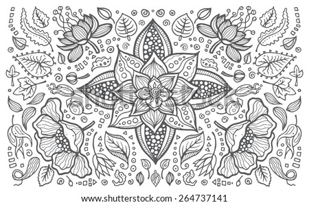 Illustration of vector hand drawn vintage floral retro elements - stock vector