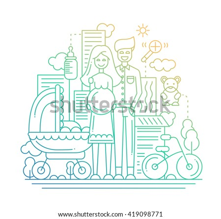 Illustration of vector modern line flat design city composition and infographics elements with a  happy family expecting a baby - stock vector