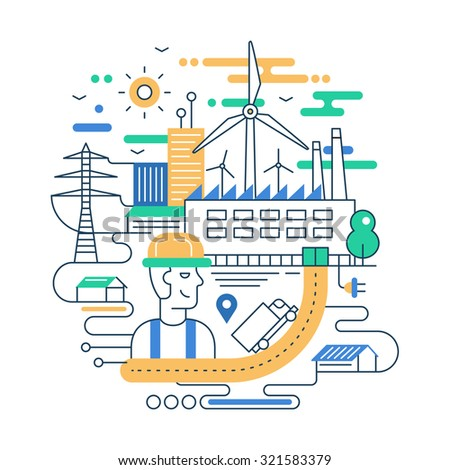 Illustration of vector modern line flat design city composition with people, factory buildings and alternative energy infographics elements - stock vector