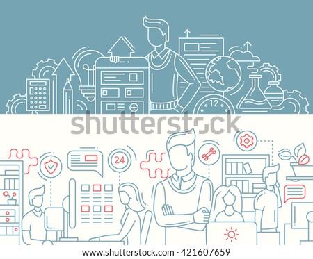 Illustration of vector modern line flat design solutions composition and infographics elements with a man and business tools, office workers. Website banners, headers set - stock vector