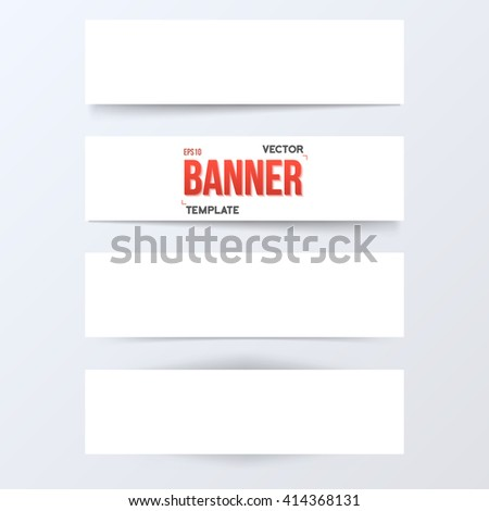 Illustration of Vector Paper Banner Set. White Paper Banner Set Isolated on Transparent Overlay Background. Vector Banner Set with Realistic Shadow - stock vector
