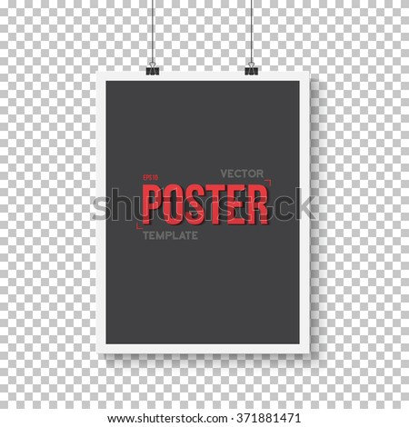 Illustration of Vector Poster Mockup. Realistic Vector EPS10 Paper Vertical Black Poster in White Frame Isolated on Transparent PS Style Background - stock vector