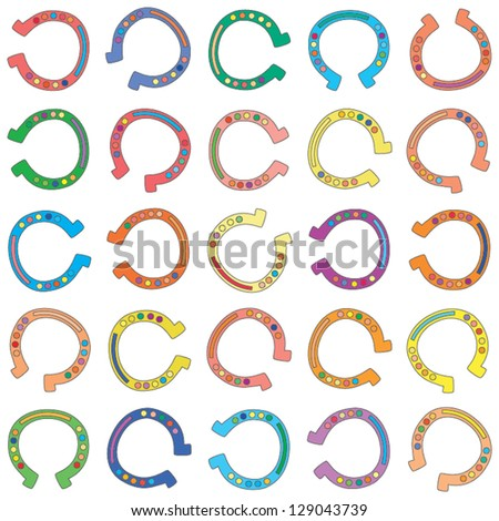 Illustration of vector seamless background made from colorful cartoon horseshoes - stock vector