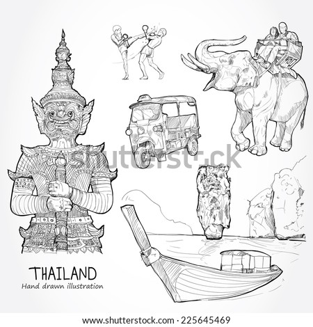 Illustration of vector set of Thailand. Travel Thailand Concept. - stock vector
