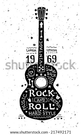 Illustration of vector vintage grunge label with guitar - stock vector