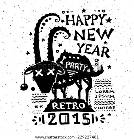 Illustration of vector vintage grunge New Year label - stock vector