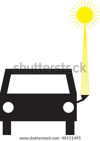 Illustration of vehicle refueling solar energy - stock vector