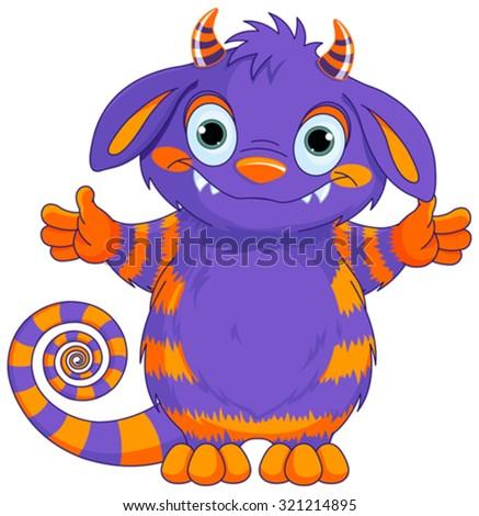 Illustration of very cute horned monster  - stock vector