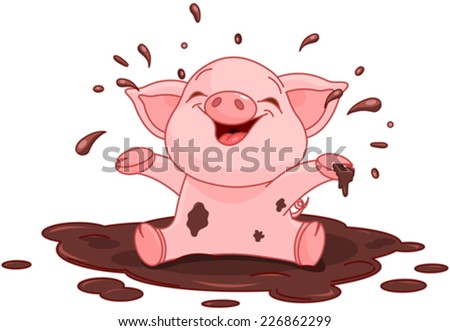 Illustration of very cute piggy in a puddle - stock vector