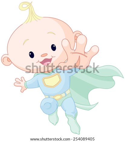 Illustration of very cute super baby boy - stock vector