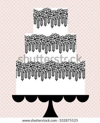 illustration of very stylish wedding cake - stock vector