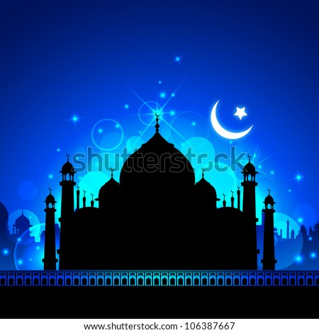 illustration of view of Taj Mahal in Eid night with moon