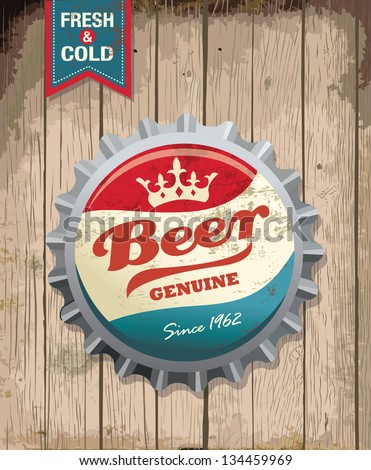 illustration of vintage beer bottle cap with wooden background - stock vector