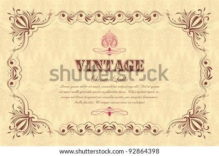 illustration of vintage floral frame on seamless background - stock vector