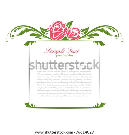 illustration of vintage floral frame with rose - stock vector