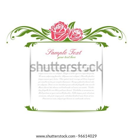 illustration of vintage floral frame with rose - stock vector
