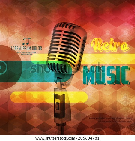 illustration of Vintage Microphone on abstract musical background - stock vector