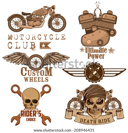 illustration of vintage motorcycle design element with skull - stock vector