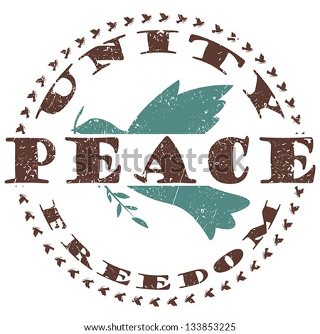 illustration of vintage peace label, stamp with dove and text unity and freedom around. - stock vector