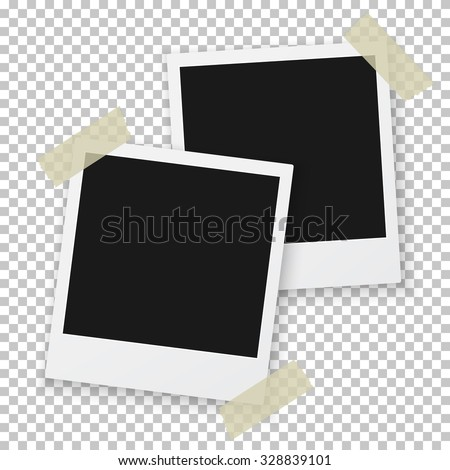 Illustration of Vintage Photo Frame Sticked on Duct Tape to Background. Retro Photorealistic Photo Frame - stock vector