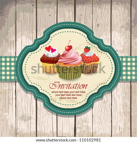 illustration of vintage retro frame with cupcakes - stock vector