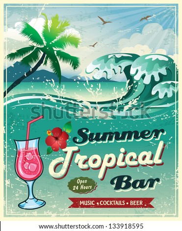 illustration of vintage seaside tropical bar sign - stock vector