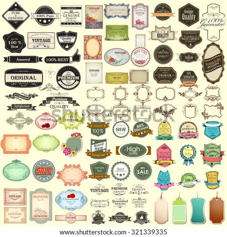illustration of vintage selling badge for premium quality jumbo collection - stock vector