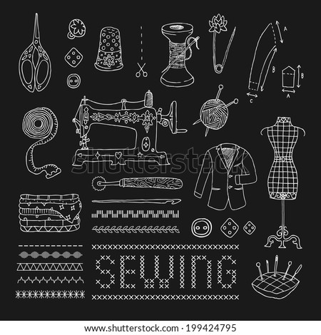 Illustration of vintage sewing accessories. Vector. Doodle. Isolated. - stock vector