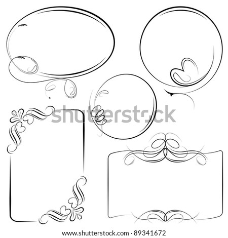 illustration of vintage style floral frame in different shape - stock vector