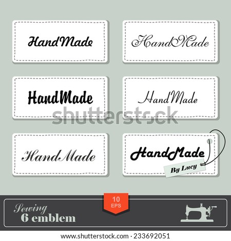 illustration of vintage style sewing and tailor label. Labels fabric with stitching - stock vector