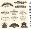 illustration of vintage styled high quality and satisfaction guarantee label - stock