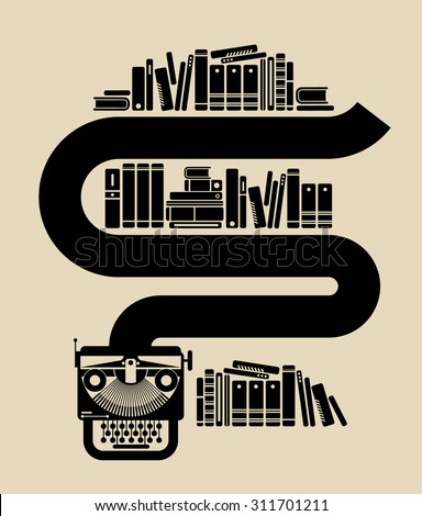 Illustration of vintage typewriter with books. - stock vector