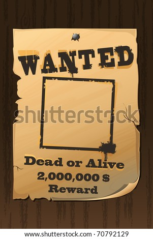 illustration of vintage wanted poster with dead or alive text - stock vector