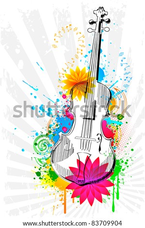 illustration of violin on abstract floral background - stock vector