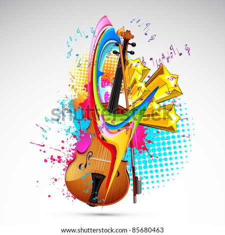 illustration of violin on colorful abstract grungy background - stock vector