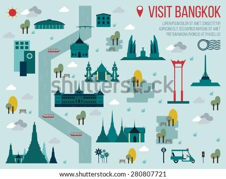 Illustration Visit Bangkok Travel Map Concept Stock Photo Photo