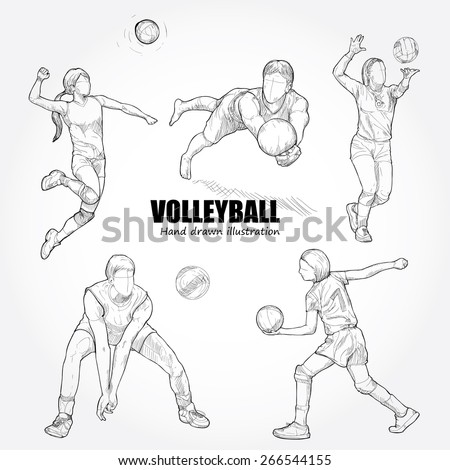 illustration of volleyball. Hand drawn.