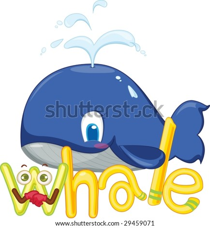 illustration of w for whale - stock vector