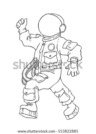 illustration of walking and cheering astronaut in space suit and face mask with thumb up