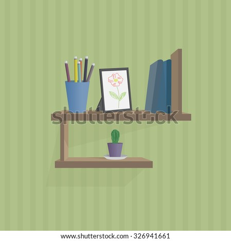 illustration of wall shelf