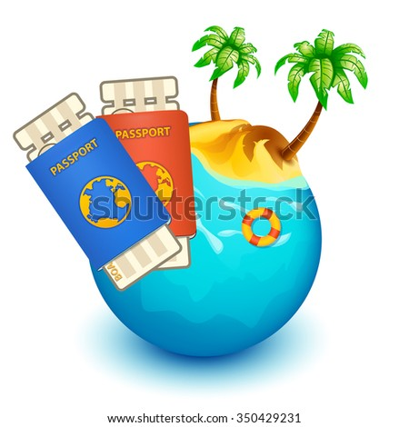illustration of water sphere with island and red boat with passports and boarding pass - stock vector