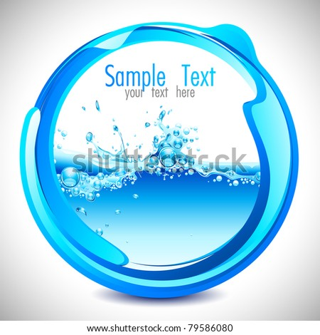 illustration of water splash in abstract circular shape - stock vector
