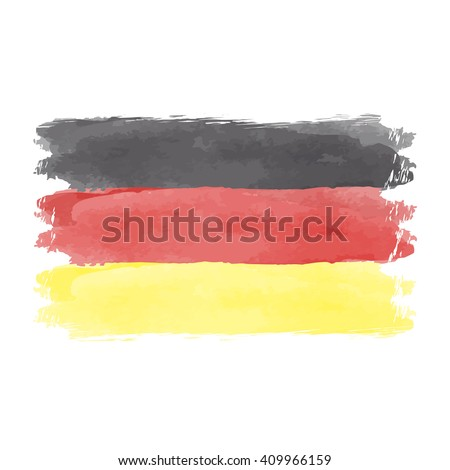 Illustration of watercolor flag of Germany. German flag vector. German flag vintage style. Watercolor and grunge German flag.  - stock vector
