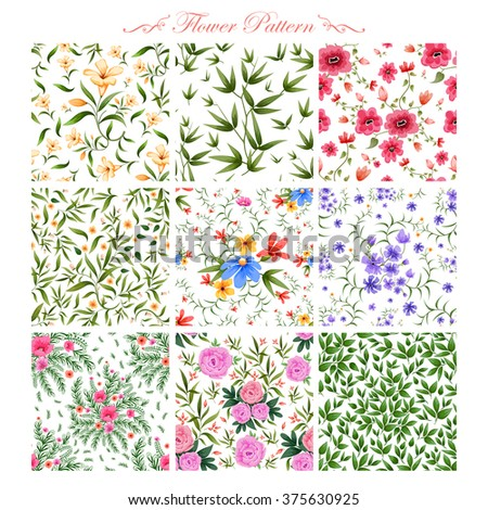illustration of watercolor floral seamless pattern - stock vector