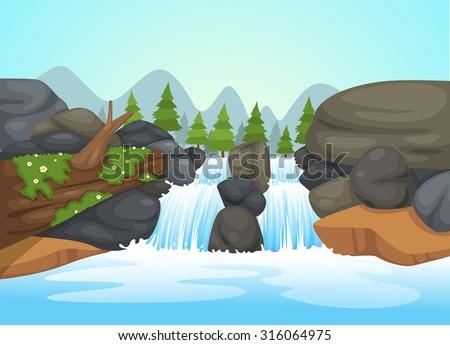 illustration of  waterfall landscape vector - stock vector